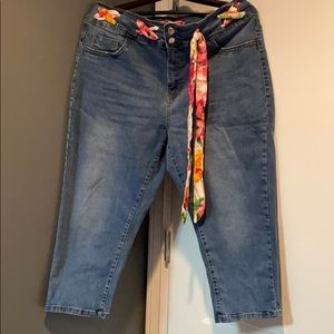 Cropped Jeans with silky woven tie
